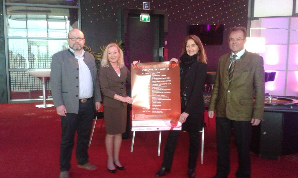 Winners Lounge - Geschäftsführer der TTT Christian Kausch, Spielbankdirektorin Antje Schura, TTT-Veranstaltungsmanagerin Beate Lang, Bad Wiessees Bürgermeister Peter Höß (v.l.)