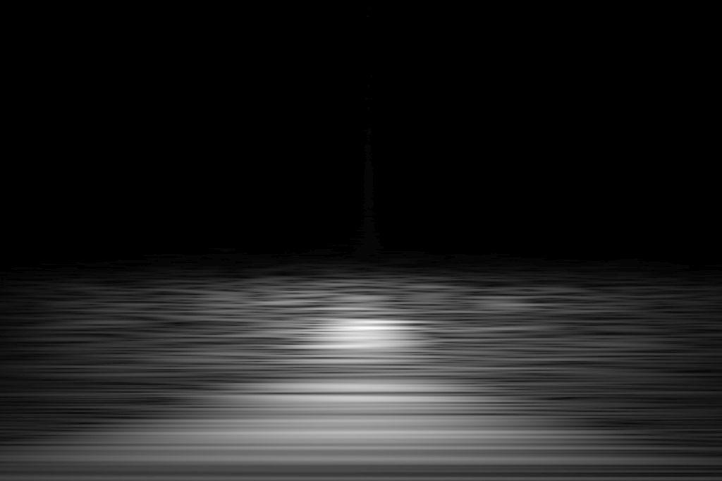 Chris Tille: New Horizon – Gravitationswellen – Visualisierung der Energie aus der Kollision zweier schwarzer Löcher.