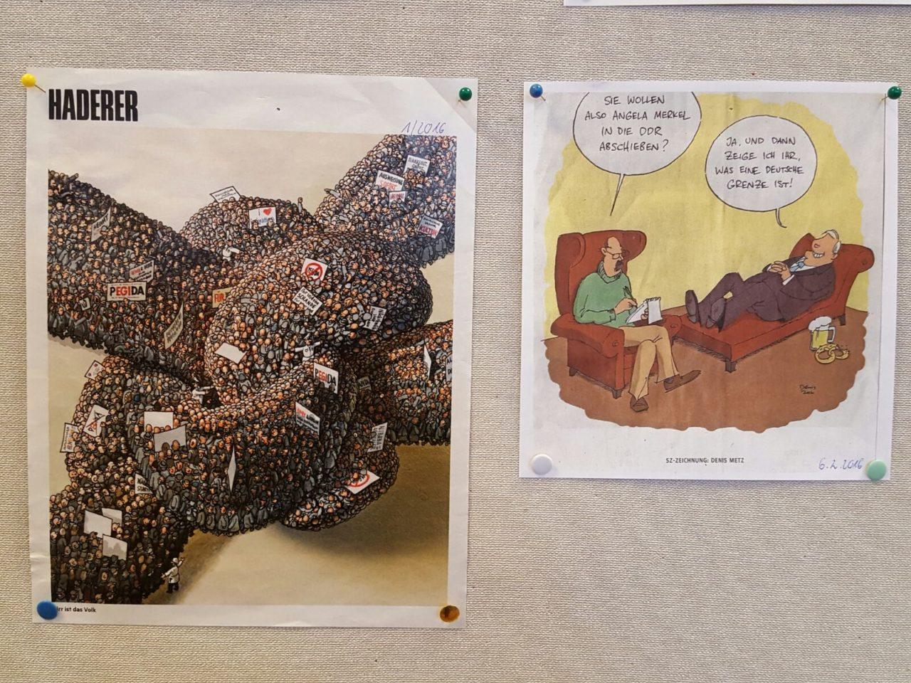 45 Jahre Amnesty International Miesbach - Karikaturenausstellung in der Stadtbücherei - Karrikaturen 2016