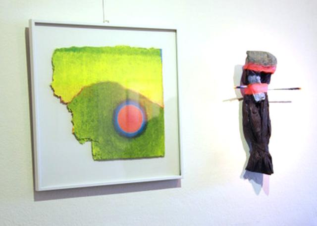 Horst hermenau_ Malerei mit Neon, Ausstellung am Tannerhof in Bayrischzell