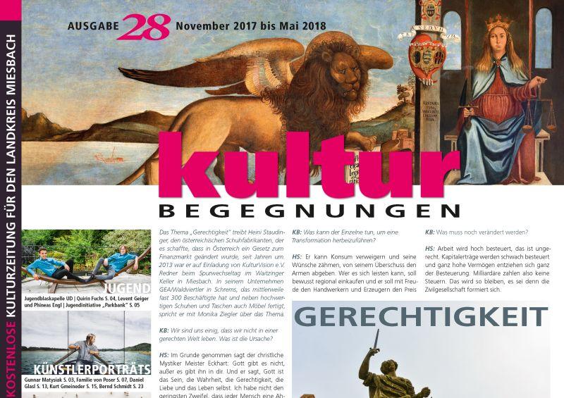 Titelseite der 28. KulturBegegnungen. Gestaltung: Kaufmann Grafikdesign Miesbach