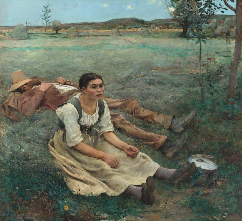 Jules Bastien-Lepage (1848-1884): Die Heuernte, 1877, Musée d'Orsay., Ausstellung Historienmalerei in der Kunsthalle München