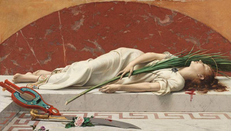 Etienne Gautier (1842-1903): Die tote Cäcilia (von Rom), 1878, Musée d'Orsay. in der Kunsthalle München