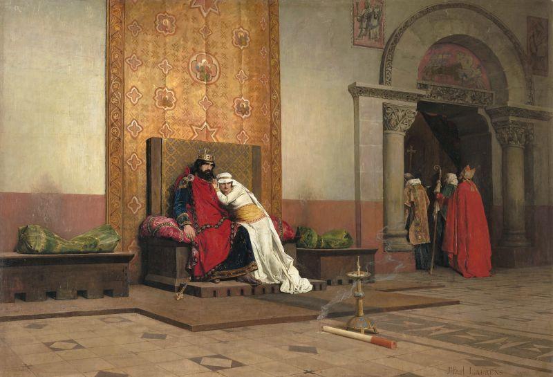 Jean-Paul Laurens (1838-1921): Die Exkommunikation Roberts des Frommen, 1875, Musée d'Orsay, Historienmalerei in der Kunsthalle München