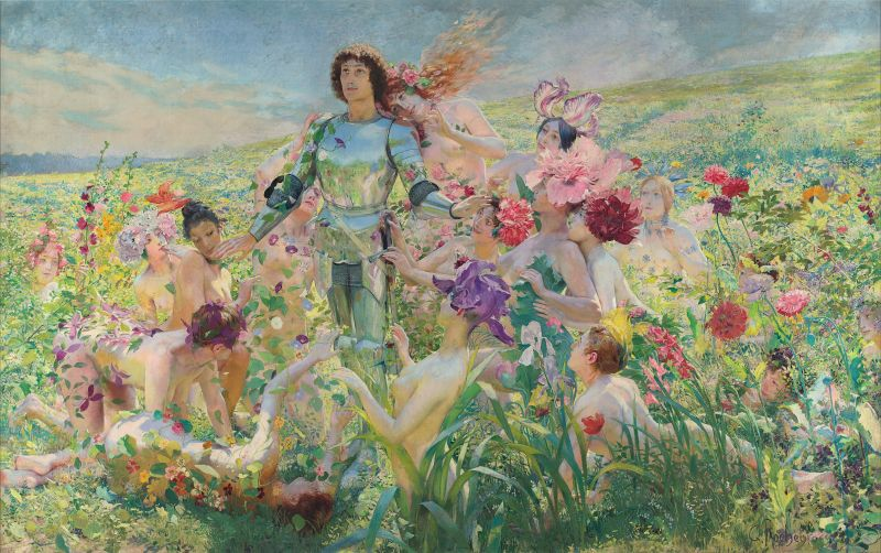 Georges Rochegrosse (1859-1938): Der Ritter (Parsival) und die Blumenmädchen, 1894, Musée d'Orsay.