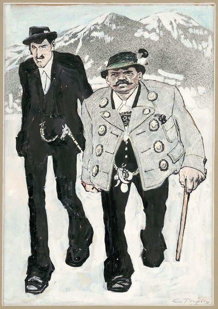 Eduard Thöny: Kirchgang (Zwei oberbayrische Bayern), 1910, Simplicissimus Jg.14, Heft 42