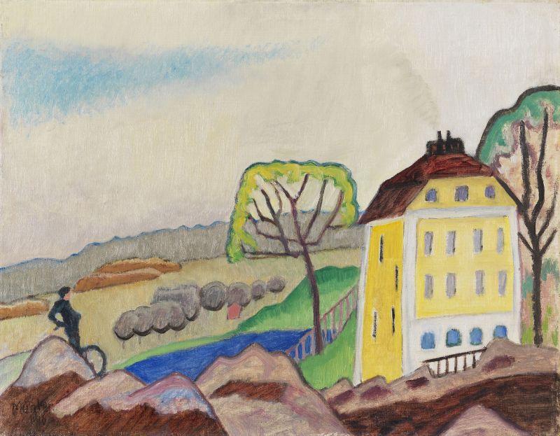 Gabriele Münter: Landschaft mit gelbem Haus, 1916. Foto: