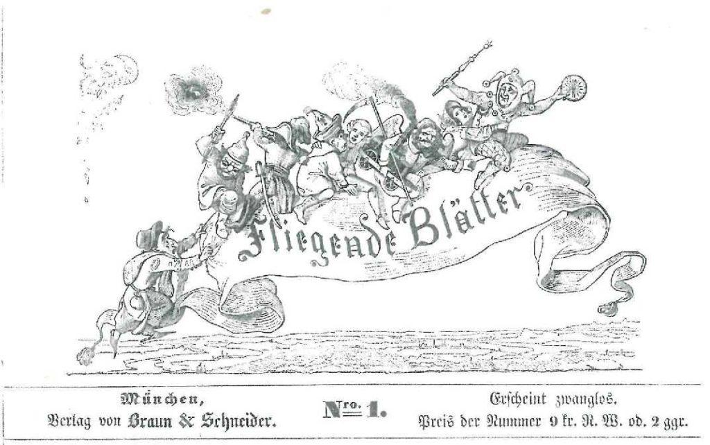 """Titelei der """"Fliegenden Blätter"""", Nr. 1 vom 7. November 1844. Franz von Pocci"""