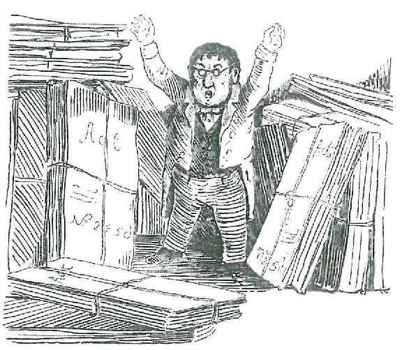 """Der """"Staatshämorrhoidarius"""" kehrt ins Büro zurück und ist umzingelt von Akten. - Franz von Pocci, Zeichnung"""