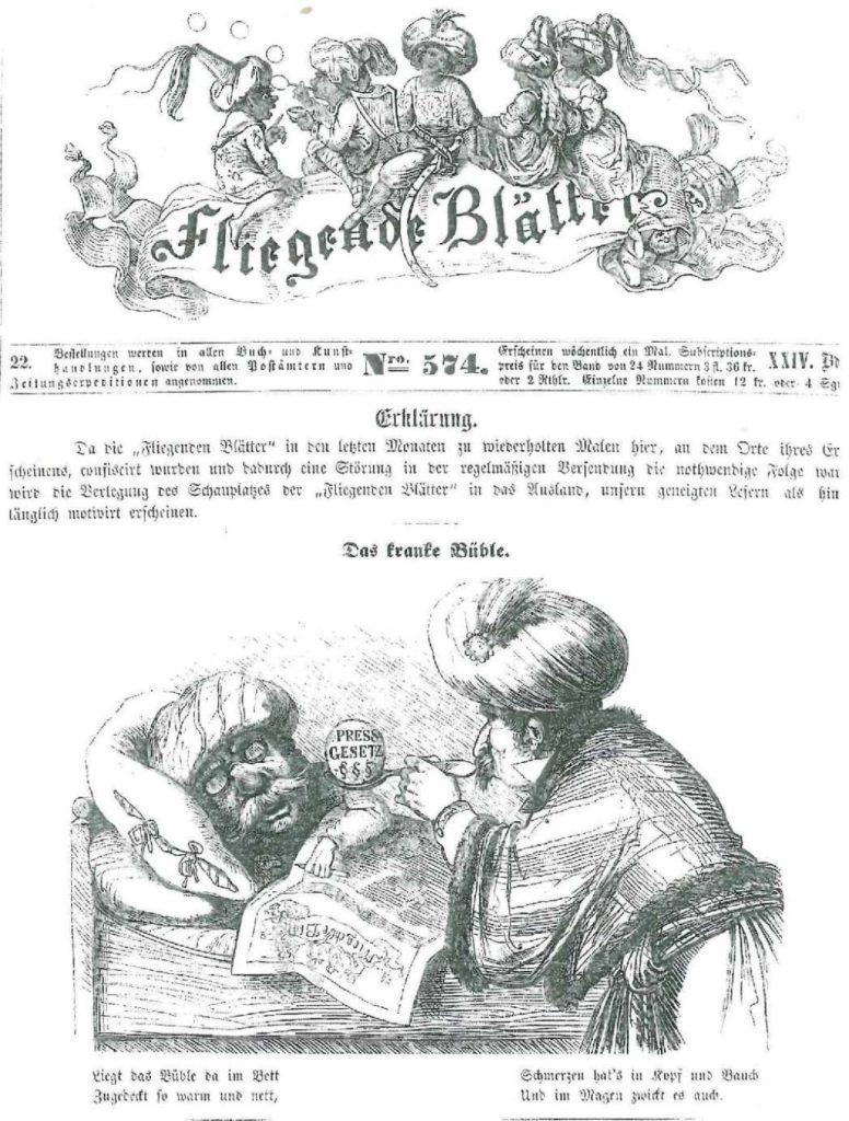 """Auf der Titelseite der Protestnummer der """"Fliegenden Blätter"""" von 1856 wurden alle Personen mit dem orientalischen Turban versehen. Franz von Pocci"""