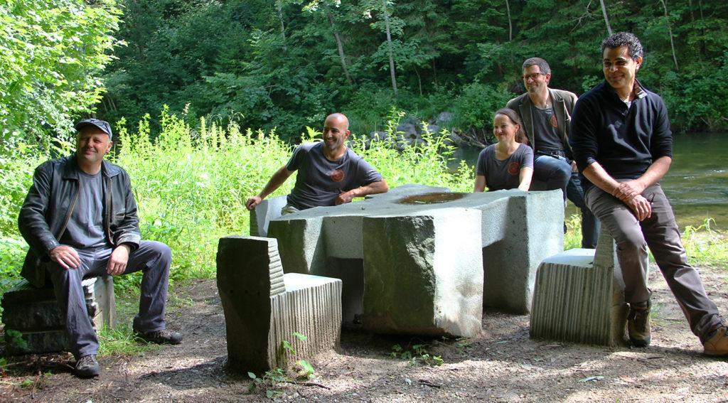 Josef Pleier, Saeid Ahmadi, Christiane Ahlhelm, TOBEL und Hani Faisal (v.l.)