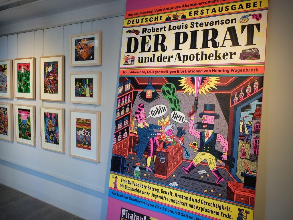 """Henning Wagenbreth """"Der Pirat und der Apotheker"""", Buchplakat zur Lesung."""