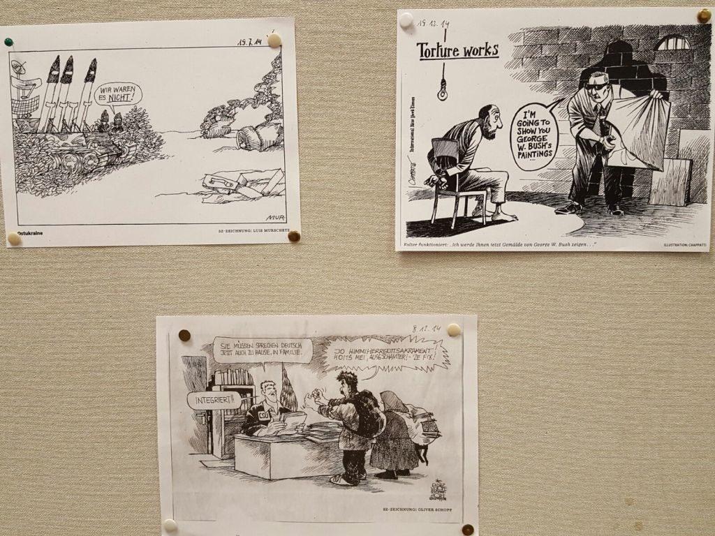 45 Jahre Amnesty International Miesbach - Karikaturenausstellung in der Stadtbücherei - Karrikaturen 2014