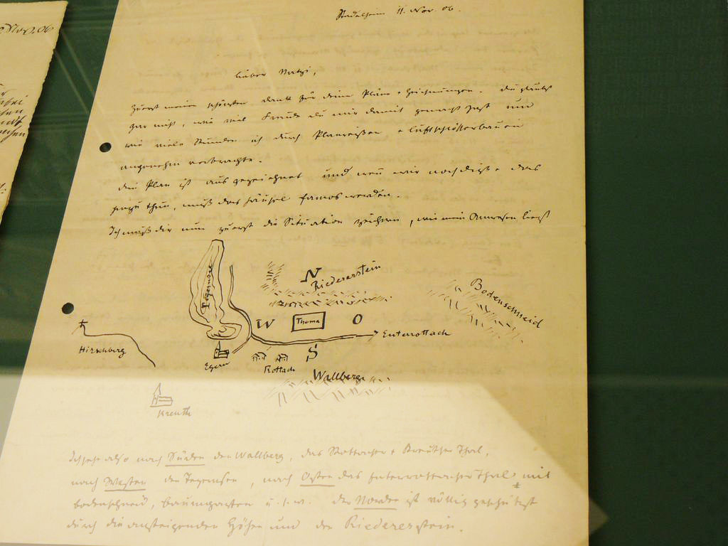 Brief Ludwig Thomas an Ignatius Taschner vom November 1906 mit einer Lageskizze des geplanten Thoma-Hauses auf der Tuften. Foto:Klee
