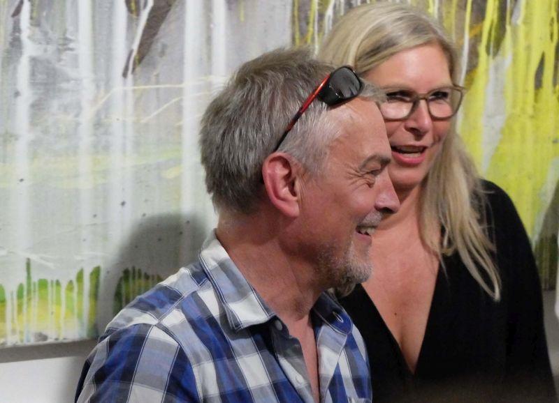 Jürgen Welker bei der Vernissage in der Bildpark Gallery München bei Galeristin Gabi Papst