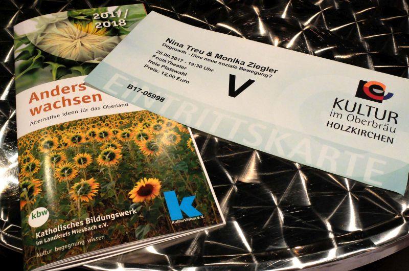 """Neue Broschüre """"Anders wachsen"""" und Ticket der Veranstaltung """"Degrowth - eine neue Bewegung"""""""
