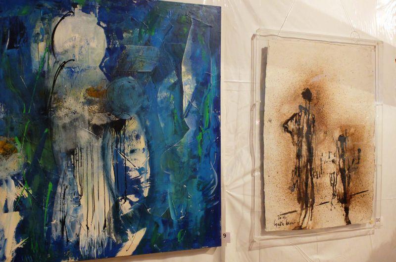 Walter Franzen vielfältig: links Acryl, rechts Bitumen. Foto: Ines Wagner