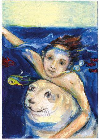 >Das Kind, der Seehund, über Wasser, unter Wasser: Hannah Schröder hat das Plakat zum Theaterstück gestaltet