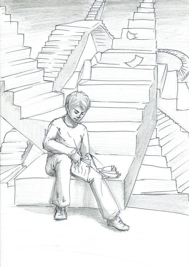 Illu Asef: Auf und ab.  Zeichnung: Antje Krüger