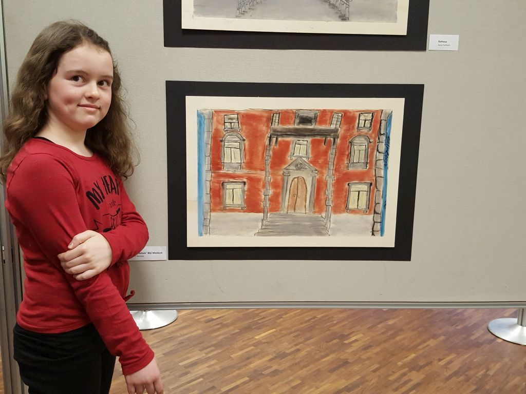 """Kinder malen ihre Stadt - zum Beispiel Katrin Weidner malte die """"Frauenschule""""."""