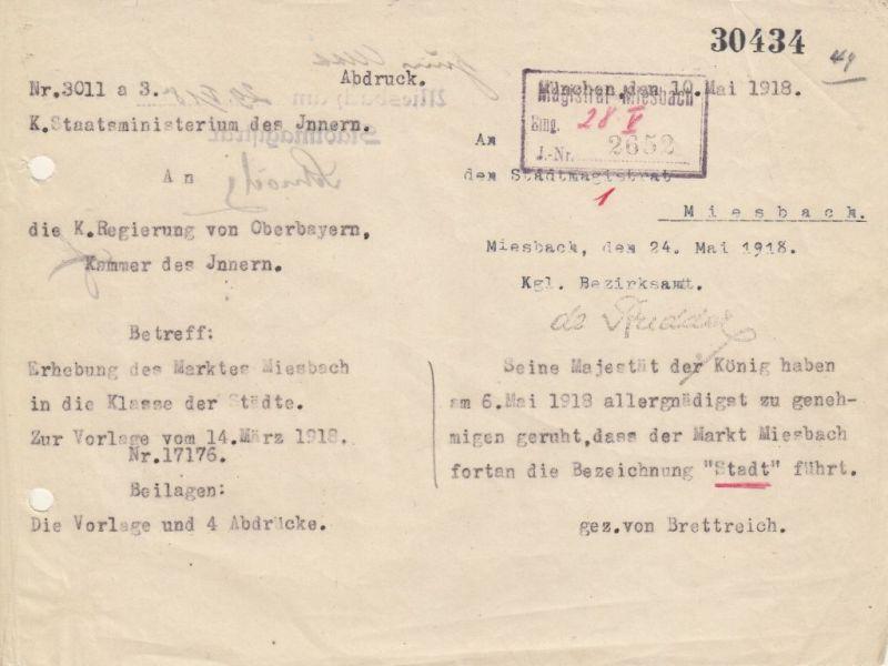 Das Telegramm mit der Bestätigung zur Stadterhebung trifft am 10. Mai 1919 in Miesbach ein.