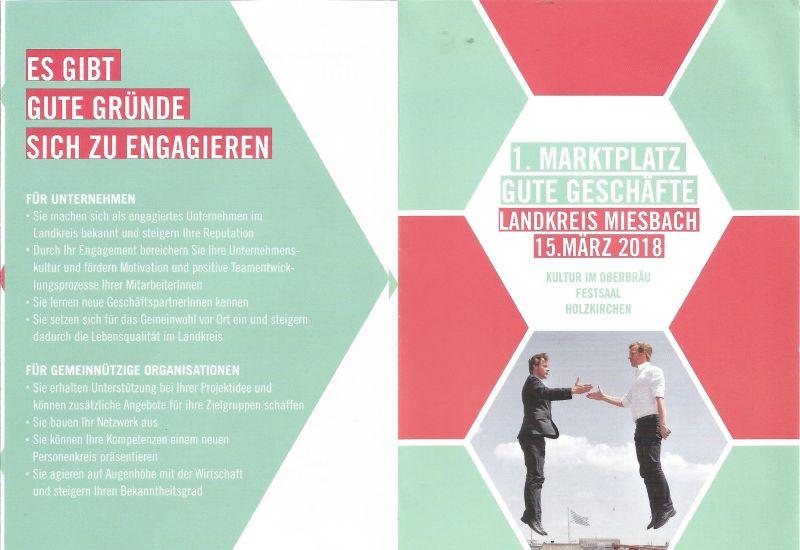 Flyer vom Marktplatz Gute Geschäfte der SMG für Vereine und Unternehmen