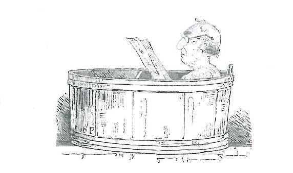 Der Staatshämorrhoidarius nimmt ein Bad.