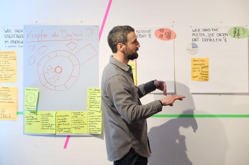 """Florian Ziebert im Workshop """"Wie soll ein Kreativzentrum im Oberland aussehen?"""
