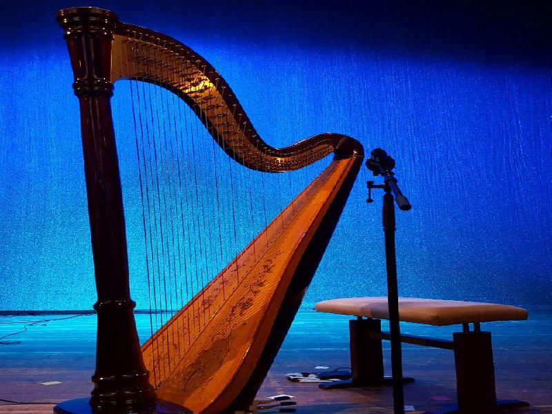 Harfe auf der Bühne des Waitzinger Kellers - Harfenfestival