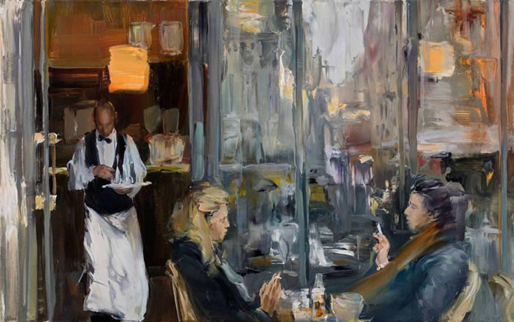 Ekaterina zacharowa malt Menschen in den unterschiedlichsten Situationen - und beobachtet dabei ihre Umwelt durch die spiegelnde Glasscheibe
