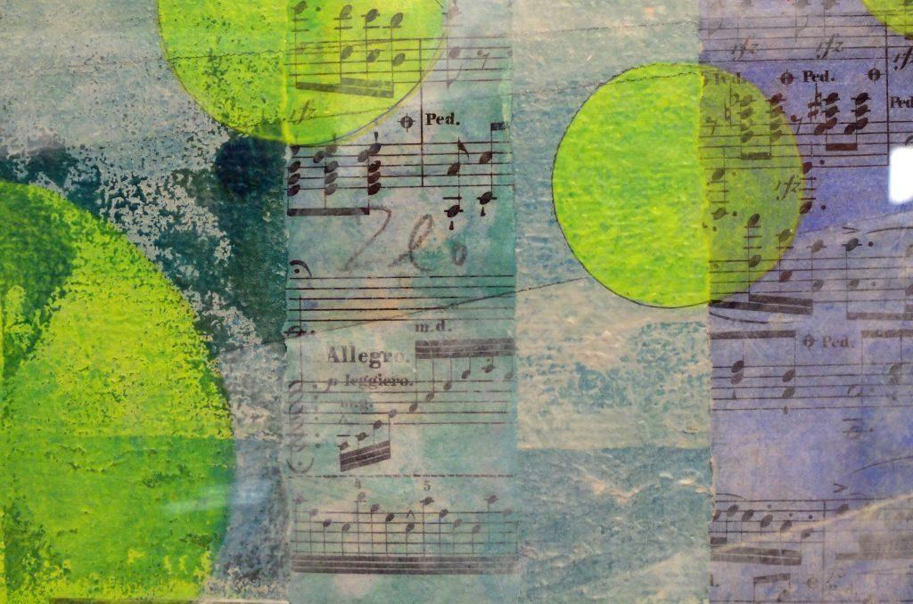 Reinhold Schmids abstrakten Bildkompositionen finden sich auch Verweise auf die Musik. (Ausschnitt)