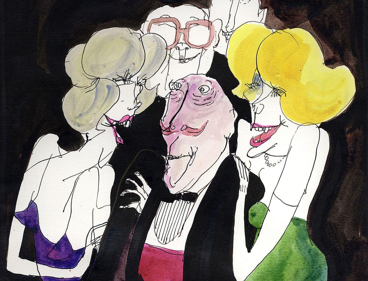 """Tomi Ungerer - Unveröffentlichte Zeichnung für """"The Party"""""""