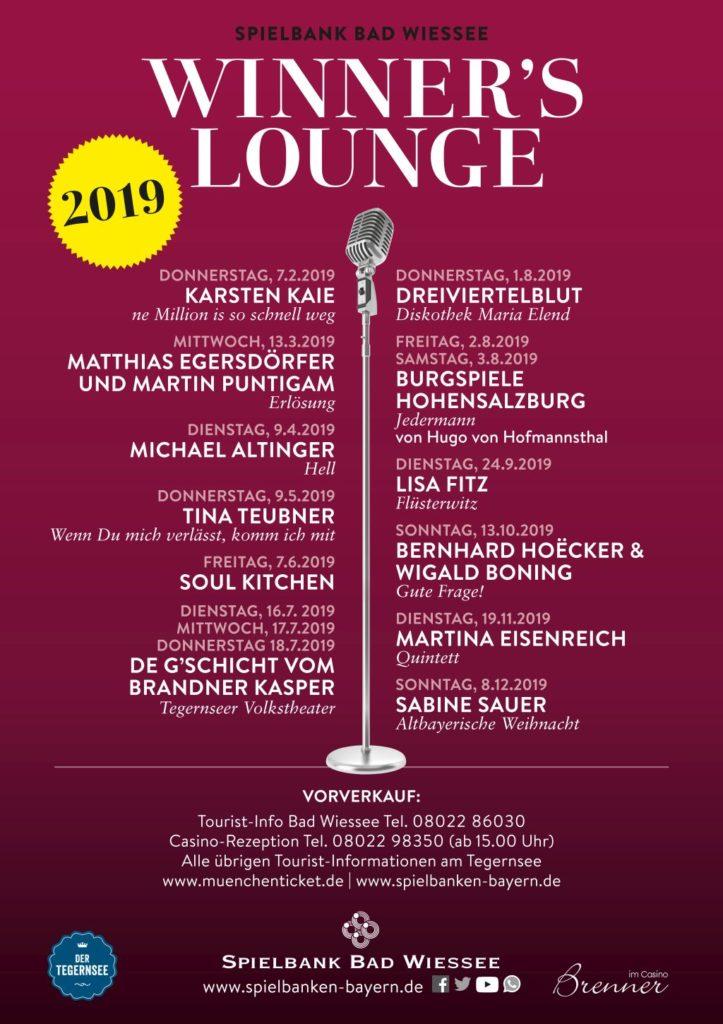 Programm der Winners Lounge für 2019