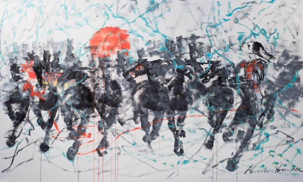 Borchu Bawaa und ein Bild seiner Pferde