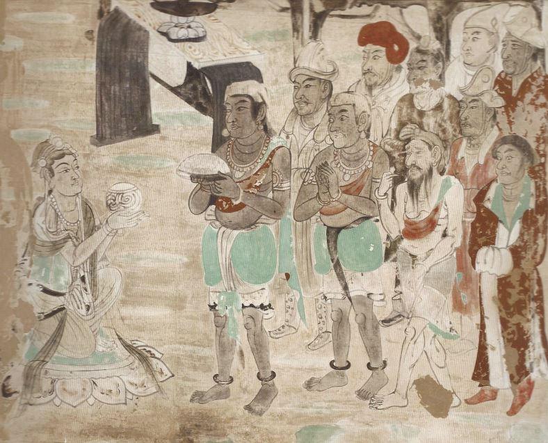 """""""Herrscher aus den Ländern entlang der Seidenstraße bei der Audienz. Wandmalerei aus dem 8. Jh. in der Höhle 103 in Dunhuang (China)."""""""