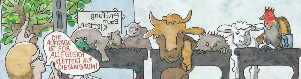 """Waltraud und Pina Milazzo schufen das Titelbild """"Tierschule"""" als Hommage an den Zeichner Hans Traxler, der in diesem Jahr 90 Jahre alt wird"""
