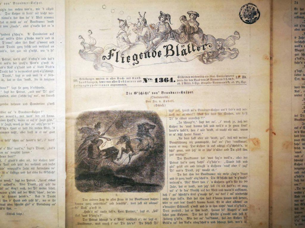 """in den """"Fliegenden Blättern"""" wurde der Brandner Kaspar zuerst als Fortsetzungsgeschichte veröffentlicht"""