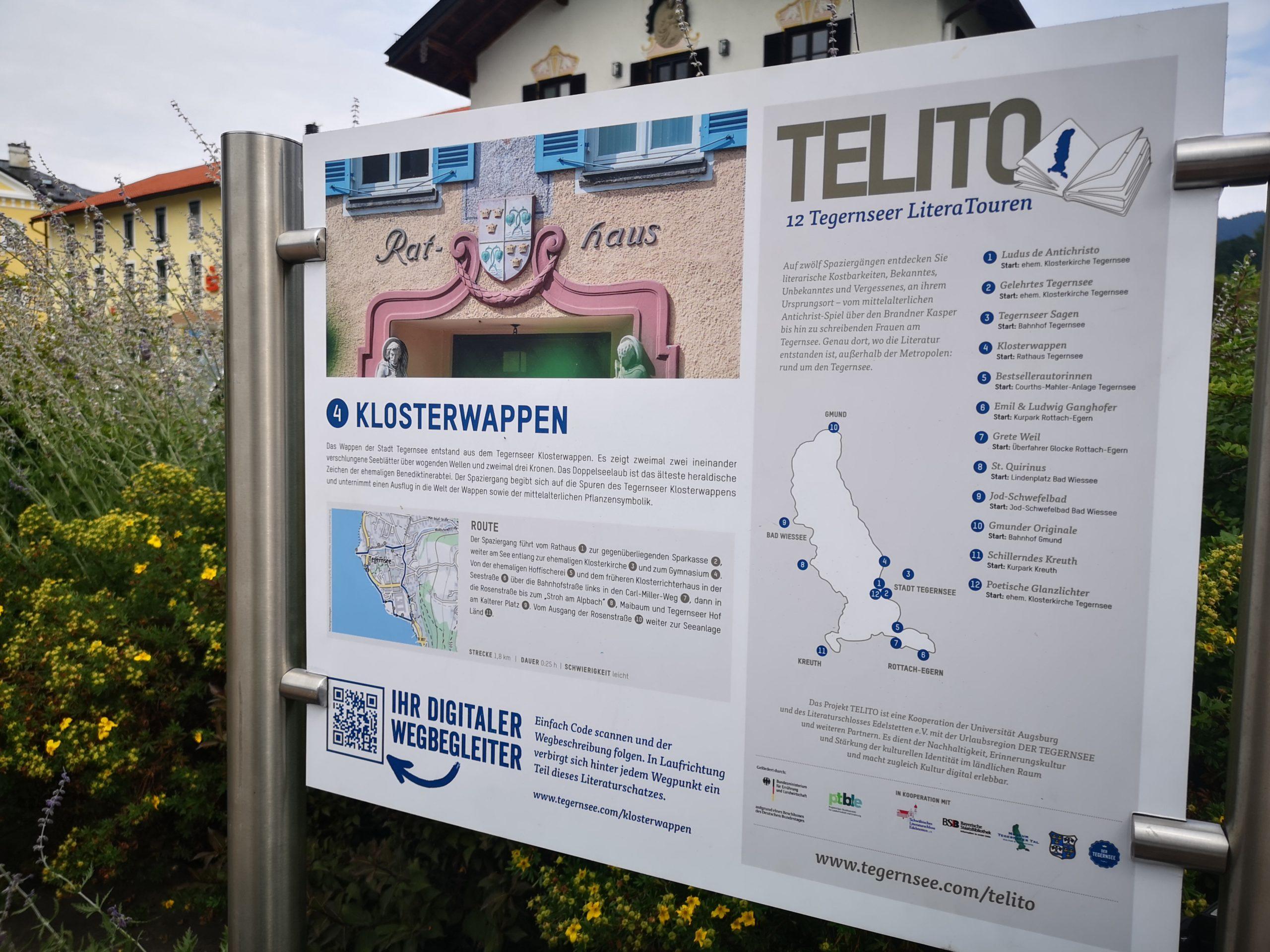 Tegernseer Literatouren - TELITO-Schild zum Sagenspaziergang in Tegernsee_(c)IW